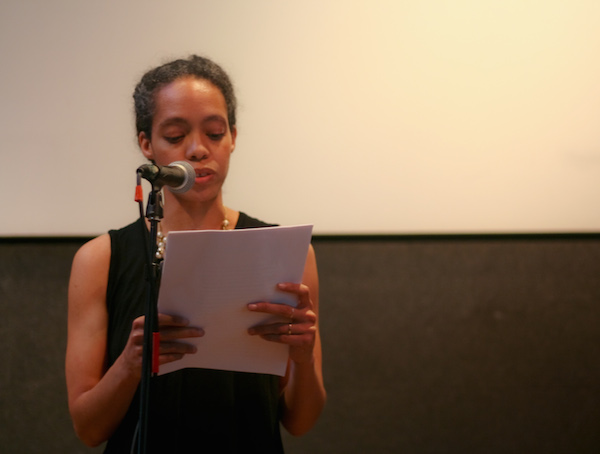 Nicole Terez Dutton reads from a manuscript of prose poems.